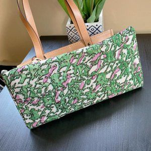 Coach Textile Print Washed Green Multi Canvas Tote